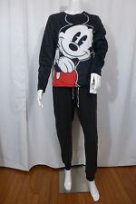 Womens Disney Pajamas Mickey Mouse FleeceTop & Bottom Black Medium New $60