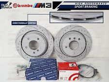 BMW E36 M3 EVO REAR DIMPLED AND GROOVED BRAKE DISC DISCS BREMBO PADS SHOES KIT