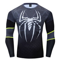 Men's T-shirts Compression Spiderman 3D Printed Tee Long Sleeve Workout Gym Tops