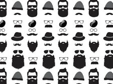 """Black Beard Mustache Tissue Paper 240 ~ 20x30"""" Sheets Father's Day Holiday Gifts"""
