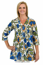 3/4 Sleeve Floral Regular Size 100% Cotton Tops for Women