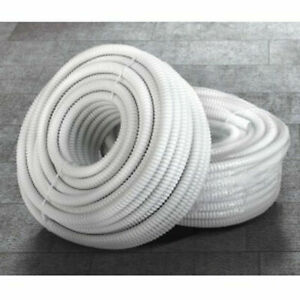 White Ridged 16mm Condensate Pipe Fits Indoor Air Conditioning Units -  30 metre