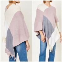 Pink Colorblock Knit Sweater Fringe Poncho Womens One Size