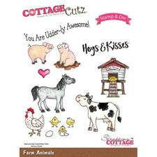 Cottage Cutz Stamps & Dies Set - Farm Animals - Pigs, Horses, Cows, Chickens