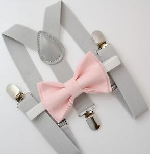 Kids Boys Mens Light Gray Suspenders & Petal Blush Pink Bow tie Baby - ADULT SET