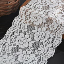 5yards 15cm Wide Ribbon Fabric DIY White Elastic Lace Trim Decor Crafts Sewing