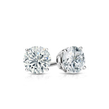 Diamond Solitaire Earrings 14k White Gold 1/2 Ct Diamond Stud Earrings D/Vvs1