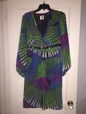 M by Shakara Womens Polyester Below Knee V-Neck Dress sz 10 Sexy Vibrant