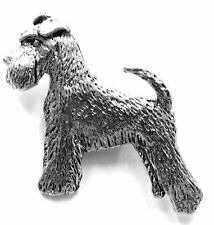 Miniature Schnauzer (with tail) Brooch, Silver Finish