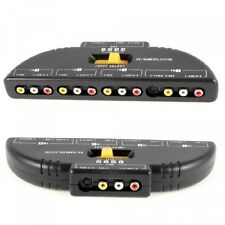 4Way Audio Video AV RCA Switch Game Selector Box Splitter Black, New