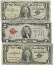 🔥 Rare Old US Red Seal 1928 Blue 1957 Silver Certificate Dollar Bill Collection
