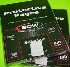 200 PRO 2-POCKET ALBUM PAGES FOR COVERS, PHOTOS, POSTCARDS, COUPONS, ETC. BY BCW