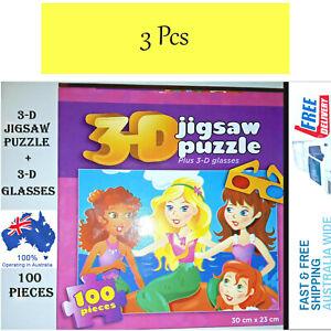 Jigsaw Puzzle Plus 3D Glasses Value Pack 300Pcs (100Pcs x 3 Pack) Kids 3 Pack