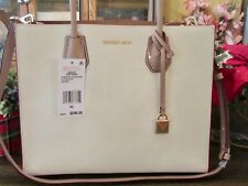 New Michael Kors Leather LT Cream Studio Mercer LG Convertible Tote Purse $298