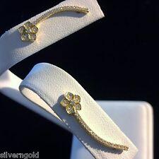 Flower Climber Earrings-Ear Crawler-14 KT Gold Plated Sterling Silver-CZ-Modern