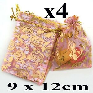 4 Pink Organza Jewellery Gift PouchPouches Bags Rose Design 9cm x 12cm
