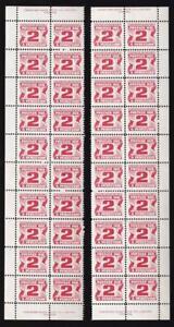 Canada 1973 Postage Due 2¢, MNH PB strips 40 stamps, end imprints, sc#J29