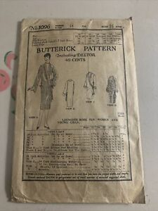 Vtg 1919 1923 Butterick Pattern 1096 Flapper Lounging Robe Coat Bust 32-44""