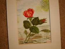 Floral rose and bud original watercolor painting signed 8 X 6