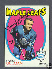 Norm Ullman Leafs signed 1971-72 Topps hockey card