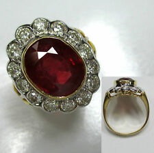 741 - Opulenter Ring - Gold 750 - Rubin - Brillanten -1019-