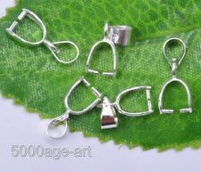 25Pcs Silver Plated charm Pendant Pinch Clip Bail Connector