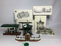 4 SETS OF DEPARTMENT 56-HERITAGE VILLAGE- ACCESSORIES-CHURCHYARD/LIONHEAD BRIDGE