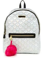 BETSEY JOHNSON Backpack Quilted Hearts School Travel Nylon Grey Iridiscent NWT