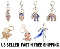 Charming Rhinestone Crystal Keychain Key Ring Chain Bag Charm Pendant cute gift