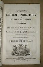 JOHNSTON'S DETROIT DIRECTORY 1853-54 w/ map HC free S/H