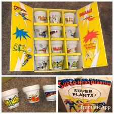 """SUPER PLANTS"" 76' SUPER HERO PLANTERS & BOX BATMAN SUPERMAN MARVEL WONDER WOMAN"