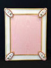 RARE VINTAGE JEWELED PICTURE FRAME WITH FOUR OUTSTANDING ENAMEL CORNERS