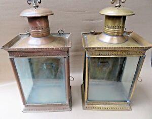 ANTIQUE WALL MOUNT Porch Entry way light ELEGANT BRASS OIL LAMP FIXTURE- Qty 2