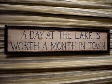 "Handcrafted original RUSTIC 37"" wood sign '  A DAY AT THE LAKE IS WORTH A MONTH"