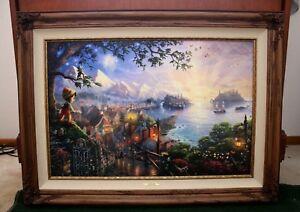 """Thomas Kinkade """"Pinocchio"""" R/E 11/40 Multi Signed Framed Canvas COA 24X36 Disney"""