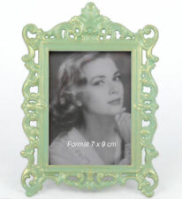 Fotorahmen Rahmen Bilderrahmen Metall Antik Barock Jugendstil Grün 7 x 9 cm Neu