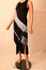 Haute Hippie Black Sleeveless Asymmetrical  Fringe Cocktail Evening Dress