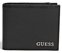 NWT GUESS CLASSIC LOGO WALLET Mens Black Faux Leather Bifold GENUINE