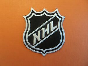 NATIONAL HOCKEY LEAGUE WHITE & BLACK EMBROIDERED IRON ON PATCHES 3-1/4 X 3