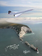 CONCORDE G-BOAG FLYING OVER THE NEEDLES ISLE OF WIGHT 16X12 SIGNED PHOTOGRAPH