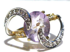 AWESOME 3.50CT AMETHYST .75CT DIAMOND TWO TONE 14K GOLD COCKTAIL RING SIZE 7.5