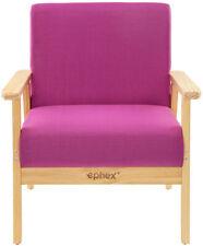 Modern Lounge Room Lobby Wood Sofa Armchair Fabric Upholstered Lounge Chair Pink