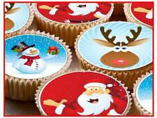 24 x 38mm Father Christmas Xmas PRE CUT Fairy Cup Cake Toppers Edible Rice Paper