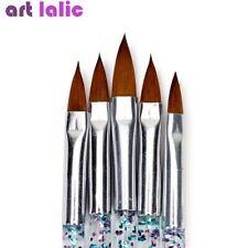 5Pcs Nail Art Brush Tools Set Crystal Handle Acrylic UV Gel Carving Glitter Pen