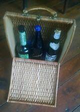 Vintage Wine Picnic Basket circa 1940s. Sturdy Ratan. Holds 3 bottles/glasses.