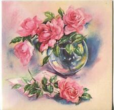 VINTAGE PINK ROSES GLASS VASE GARDEN FLOWERS PRINT 1 TEA POT CUP BREAKFAST CARD