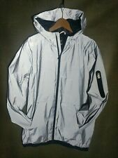Fully Reflective Hooded Silver Rave Festival Club Jacket Mens Large