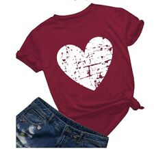 Womens Heart Short Sleeve T-Shirt Ladies Summer Casual Loose Tunic Tops Blouses