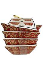 222 Fifth Pilar Red. Set of 4  Appetizer Bowls