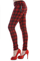 BANNED Apparel Red Tartan Check Skinny Punk Emo Stretch Rockabilly Trousers